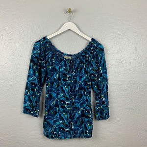 Lucky Brand Size S Blue Green Floral Peasant